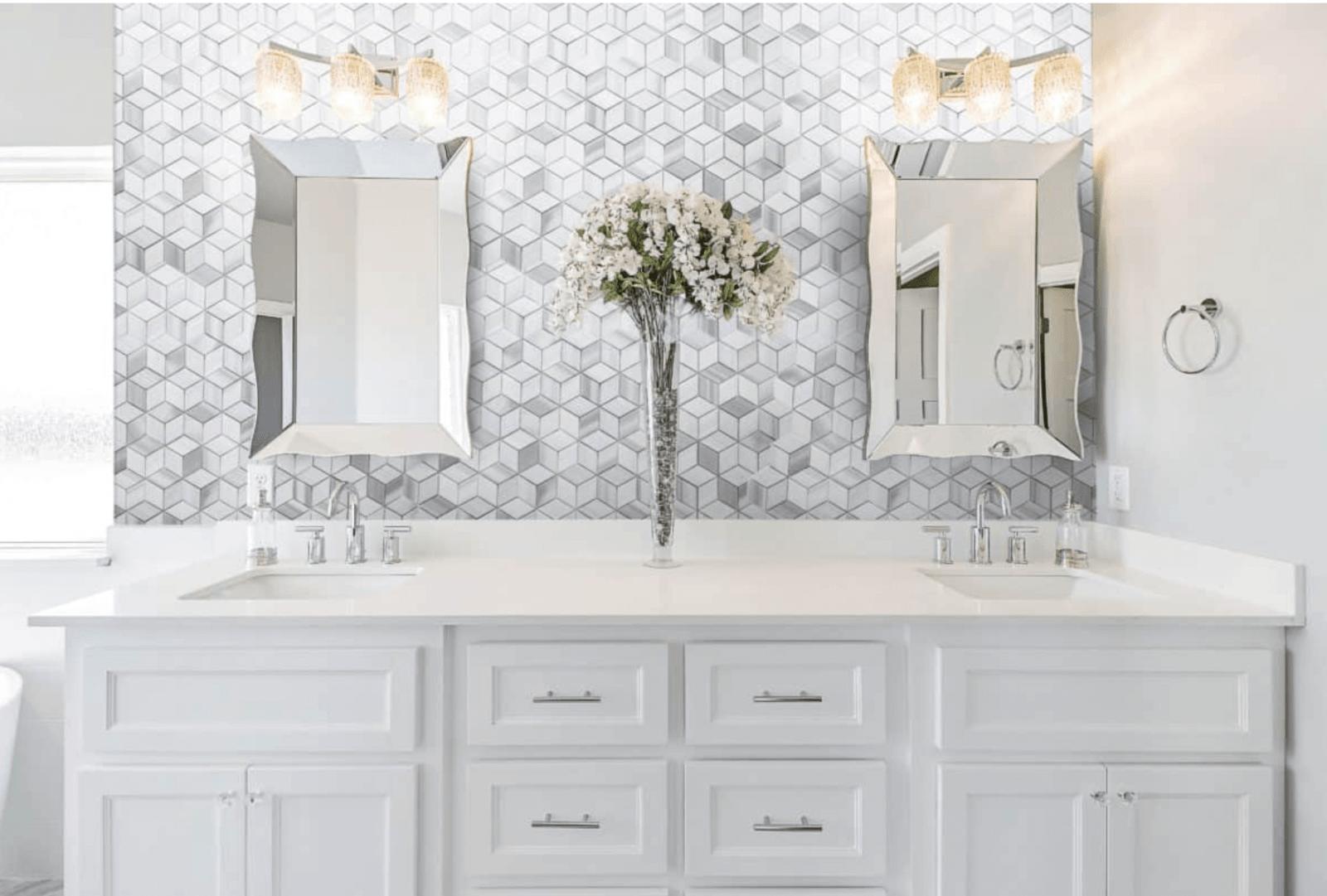 mosaic backsplash in bathroom